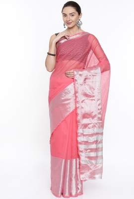 CLASSICATE From The House Of The Chennai Silks Women's Pink Venkatagiri Cotton Saree With Running Blouse