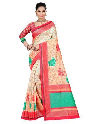pink Printed jacquard saree with blouse