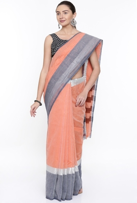 CLASSICATE From The House Of The Chennai Silks Women's Orange Venkatagiri Cotton Saree With Running Blouse