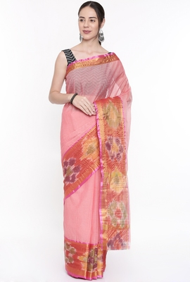 CLASSICATE From The House Of The Chennai Silks Women's Peach Venkatagiri Cotton Saree With Running Blouse
