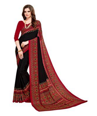 black Printed crepe saree with blouse