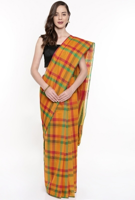 CLASSICATE From The House Of The Chennai Silks Women's Multicolor Silk Cotton Saree With Running Blouse
