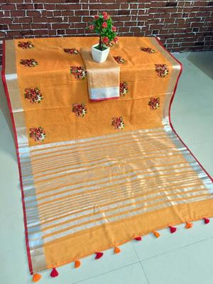 Orenge color pure linen saree