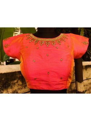 Dual Tone Coloured Raw Silk Base Kundan Stone Worked Traditional Blouse With Hanging Latkan Dori
