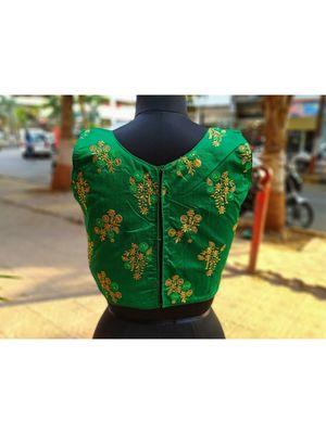 Dark Green Coloured Raw Silk Base Zari Worked Traditional Blouse