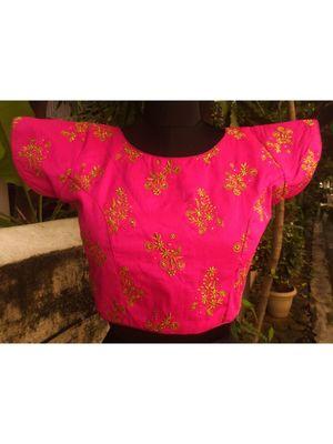 Dark Pink/ Rani Coloured Raw Silk Base Zari Worked Traditional Blouse