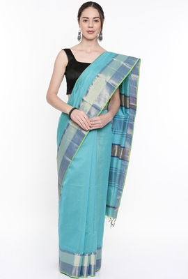 CLASSICATE From The House Of The Chennai Silks Women's Blue Silk Cotton  Saree With Running Blouse