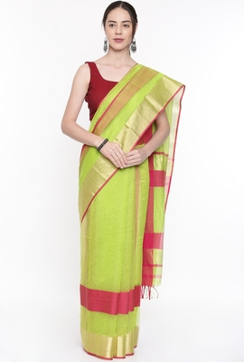 CLASSICATE From The House Of The Chennai Silks Women's Green Silk Cotton  Saree With Running Blouse