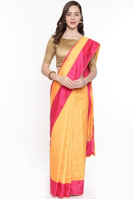 CLASSICATE From The House Of The Chennai Silks Women's Orange Raw Silk  Saree With Running Blouse