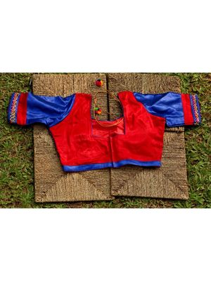 Blue And Red Coloured Mashru Silk Embroidered  Worked Blouse