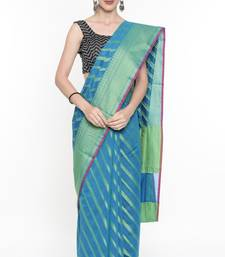 CLASSICATE From The House Of The Chennai Silks Women's Blue Organza  Saree With Running Blouse