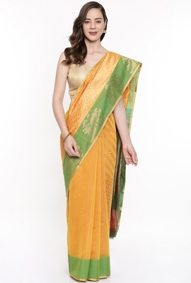 CLASSICATE From The House Of The Chennai Silks Women's Yellow Silk Cotton  Saree With Running Blouse