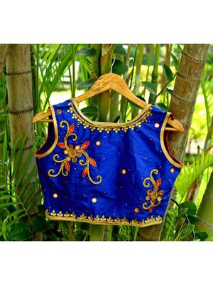 Silk Base Blue Color Zari Work Sleeveless Traditional Blouse With Small Mirror Work