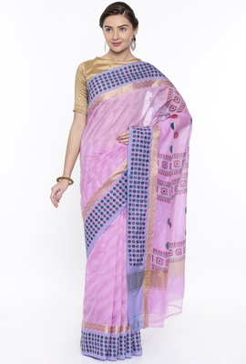 CLASSICATE From The House Of The Chennai Silks Women's Purple Chanderi Cotton  Saree With Running Blouse