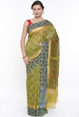 CLASSICATE From The House Of The Chennai Silks Women's Green Chanderi Cotton  Saree With Running Blouse