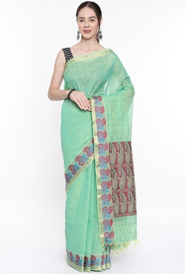 CLASSICATE From The House Of The Chennai Silks Women's Pink Coimbatore Cotton Saree With Running Blouse