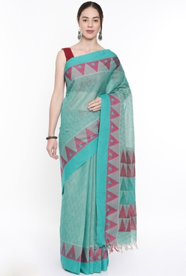 CLASSICATE From The House Of The Chennai Silks Women's Green Coimbatore Cotton Saree With Running Blouse