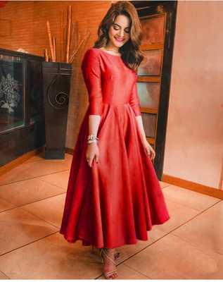 Red Women'S Cotton Galaxy  Kurti