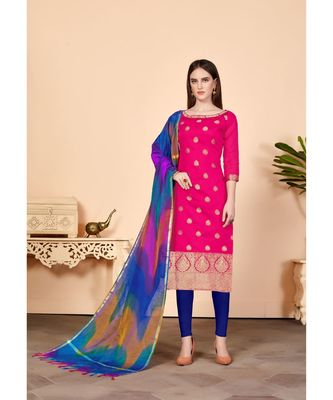 Pink embroidered Banarasi Unstitched salwar with dupatta
