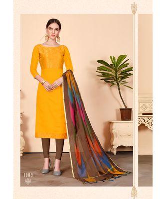 Yellow embroidered Banarasi Unstitched salwar with dupatta