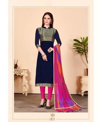 blue embroidered Banarasi Unstitched salwar with dupatta