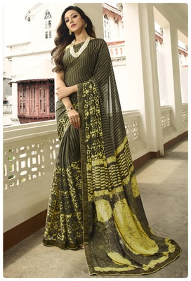 Mehendi printed georgette saree with blouse
