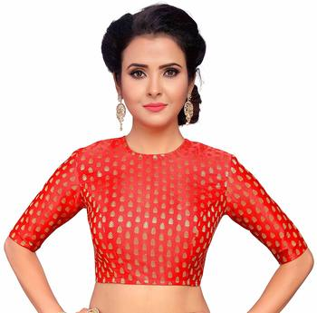 Designer Red Banarasi Silk blouse