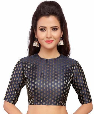 Designer Navyblue  Banarasi Silk blouse