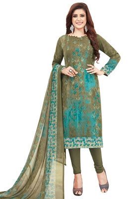 Women's Olive Green & Turquoise Synthetic Printed Unstitch Dress Material with Dupatta