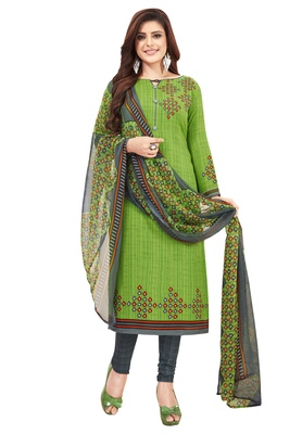 Women's Green & Grey Synthetic Printed Unstitch Dress Material With Dupatta
