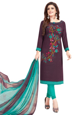 Women's Wine & Turquoise Synthetic Printed Unstitch Dress Material With Dupatta