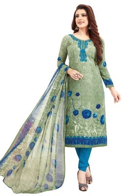 Women's Green Grey & Blue Synthetic Printed Unstitch Dress Material With Dupatta