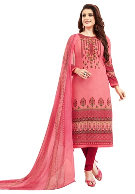 Women's Pink & Maroon Synthetic Printed Unstitch Dress Material With Dupatta