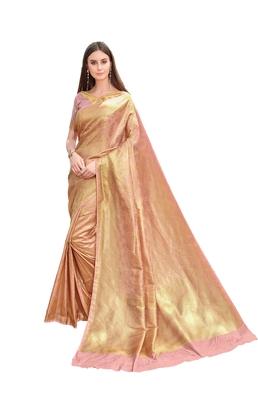 Pink woven jacquard saree with blouse