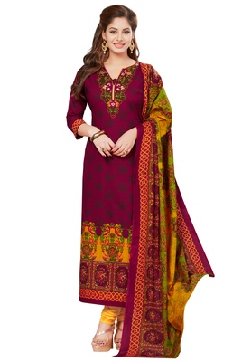 Women's Wine & Yellow Synthetic Printed Unstitch Dress Material With Dupatta
