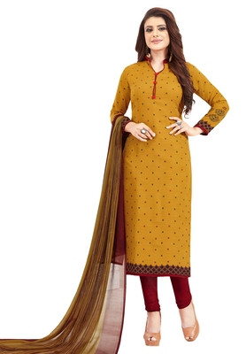 Women's Mustard & Maroon Synthetic Printed Unstitch Dress Material with Dupatta