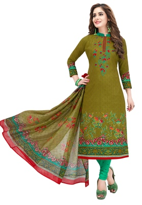 Women's Mehendi & Sea Green Synthetic Printed Unstitch Dress Material with Dupatta