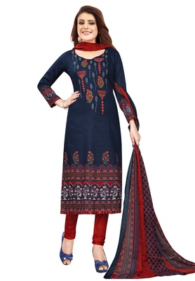Women's Navy Blue & Red Synthetic Printed Unstitch Dress Material With Dupatta