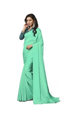 Sea green printed crepe saree with blouse