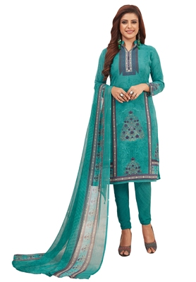 Women's Turquoise Synthetic Printed Unstitch Dress Material With Dupatta
