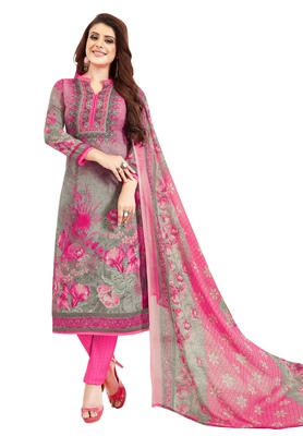 Women's Grey & Pink Synthetic Printed Unstitch Dress Material With Dupatta