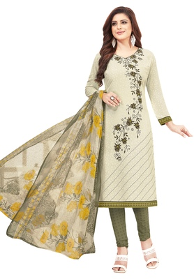 Women's Off White & brown Synthetic Printed Unstitch Dress Material with Dupatta