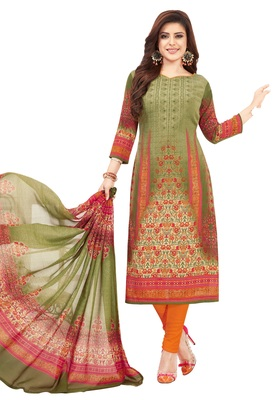 Women's Mehendi & Orange Synthetic Printed Unstitch Dress Material with Dupatta