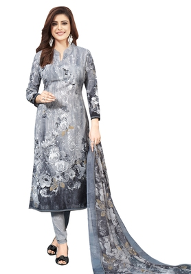Women's Grey Synthetic Printed Unstitch Dress Material With Dupatta