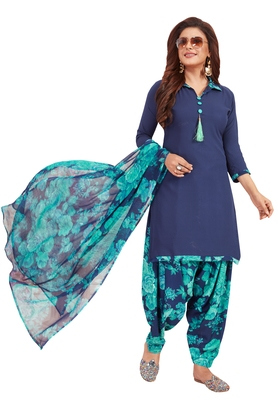 Women's Dark Blue & Green Synthetic Printed Unstitch Dress Material With Dupatta