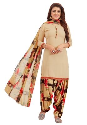 Women's Beige & Brown Synthetic Printed Unstitch Dress Material With Dupatta