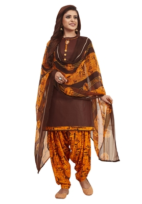 Women's Brown & Orange Synthetic Printed Unstitch Dress Material With Dupatta