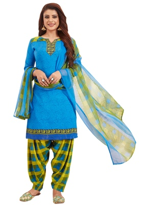 Women's Blue & Green Synthetic Printed Unstitch Dress Material With Dupatta