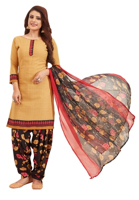 Women's Beige & Black Synthetic Printed Unstitch Dress Material With Dupatta