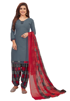 Women's Grey & Red Synthetic Printed Unstitch Dress Material With Dupatta
